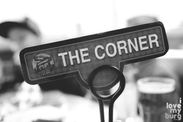 the corner sign bw