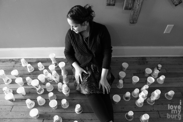 denise with cups bw