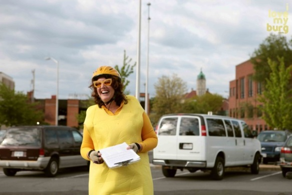 Woman in banana costume