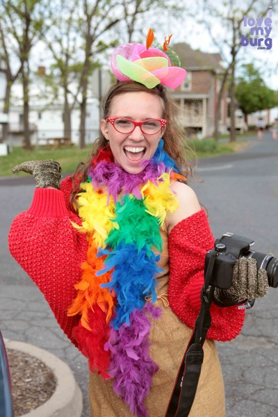 woman with camera in costume