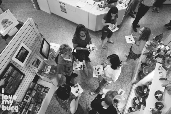 overhead photo of customers