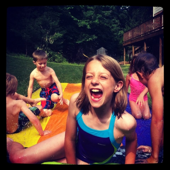 kids on a slip-n-slide