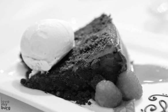 black and white photo of cake