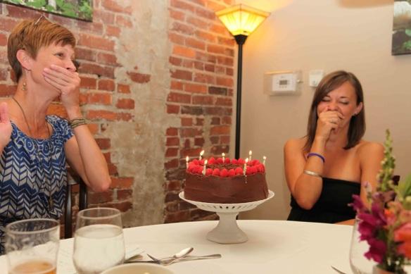two women and birthday cake