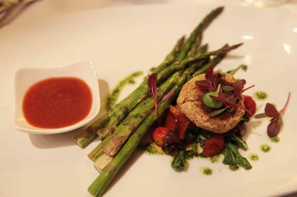plate with tofu and asparagus