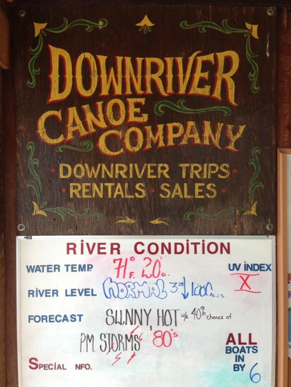 downriver canoe company sign