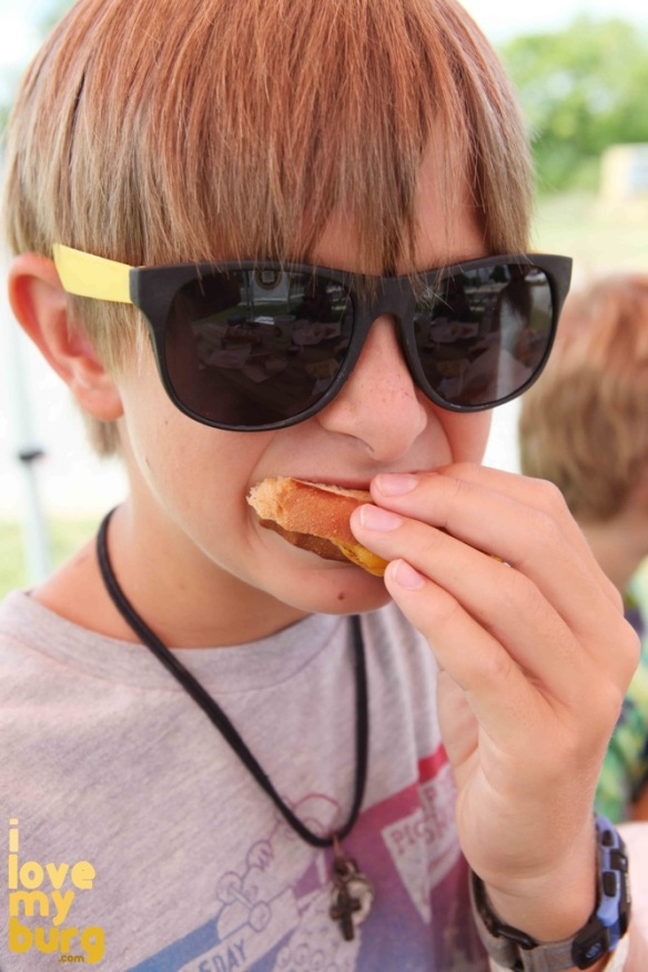boy eating grilled cheese