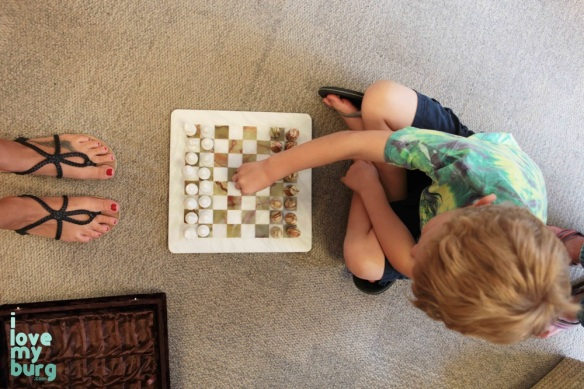boy with chess set