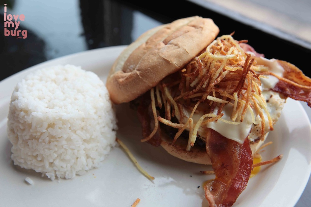 burger with rice