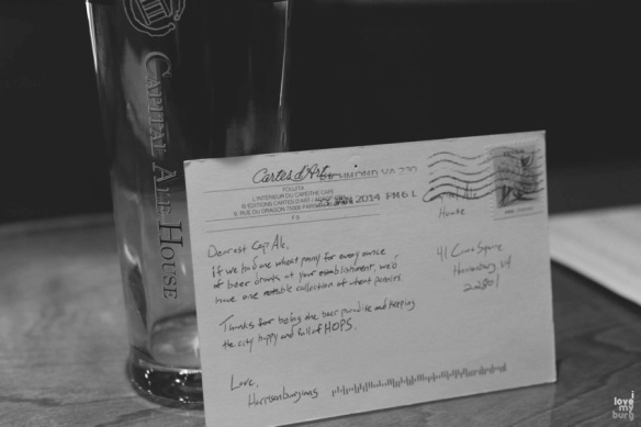 Capital Ale House love note back
