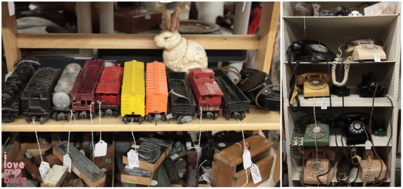 factory antique mall trains and phones