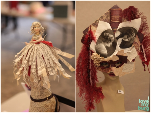 altered book doll and mask
