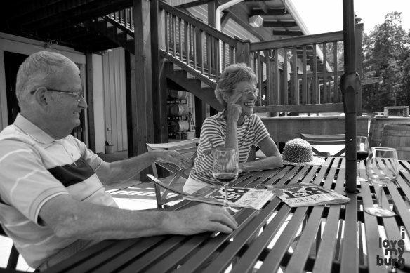 Katie's mom and dad at Barren Ridge Vineyard