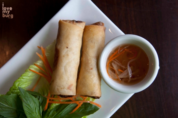 CRISPY PORK & SHRIMP SPRING ROLLS. pork, shrimp, mushrooms, carrots, cabbage.