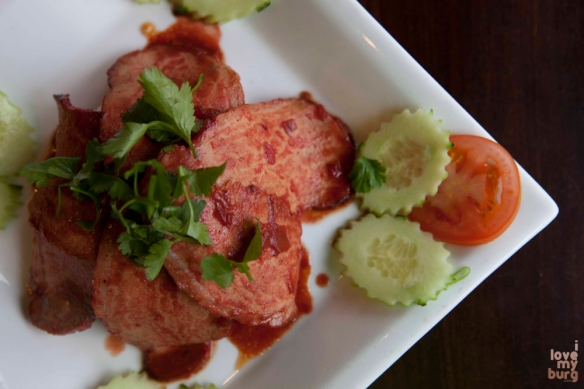CHAR SIU PORK TENDERLOIN. pork tenderloin with jasmine rice, tomato, cucumber, cilantro