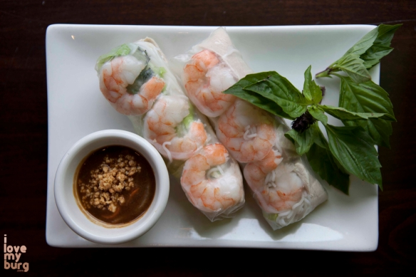RICE PAPER ROLLS WITH SHRIMP AND PORK. served with peanut sauce.